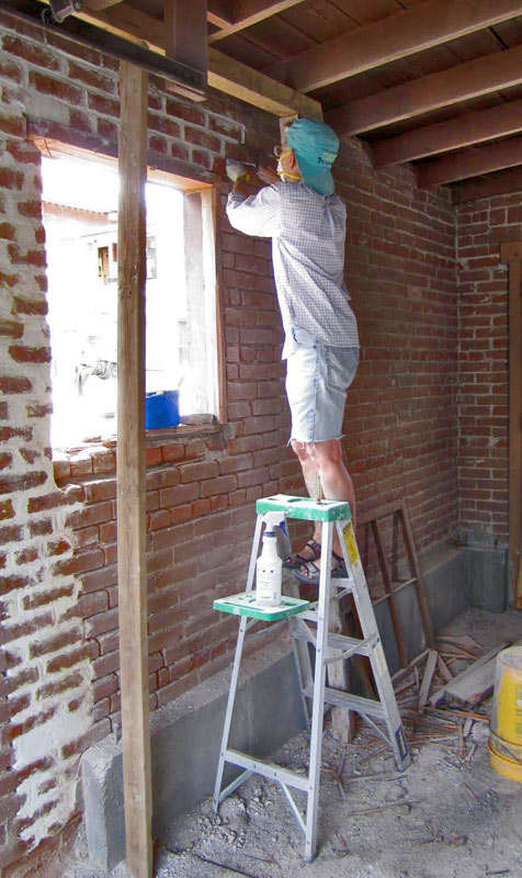 Thordis repairing the Annex wall